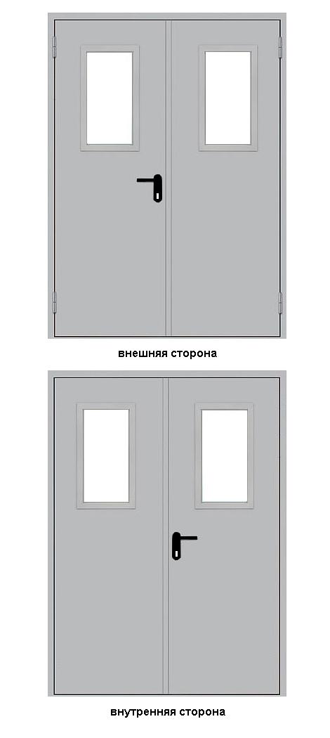 наружные двери стальные двупольные с остеклением
