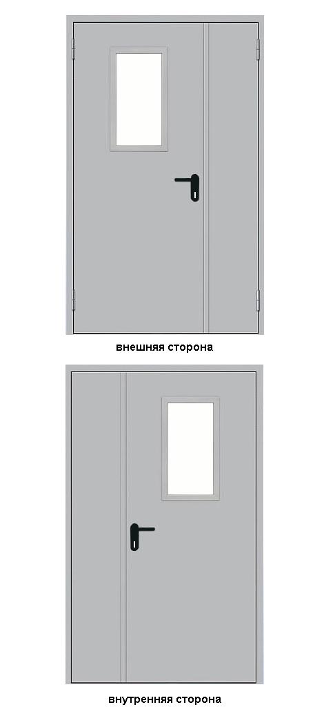 дверь противопожарная металлическая двупольная с остеклением